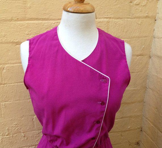 70's purple sleeveless dress size 10/12 US by PearlsVintageCloset