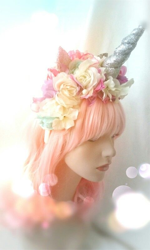 Unicorn headband headdress flower crown photo prop birthday party hat bubble gum…