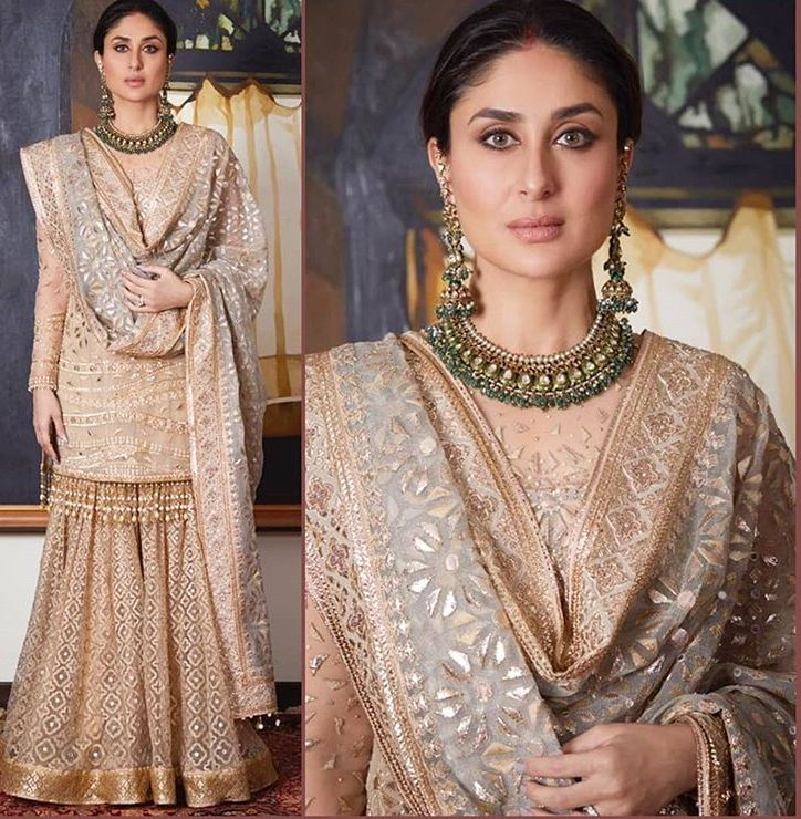 I love Kareena Kapoor's look here!! The nude makeup, the minimal jewellery, the gorgeous sharara!!! Love it!!