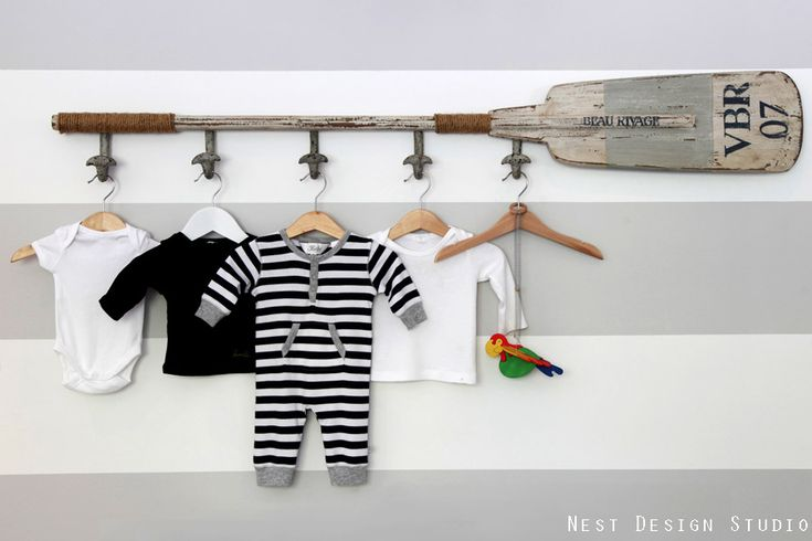 We love clever ways to display sweet baby clothes in the nursery. #modern #nurseryBasebal Bats, Nests Design, Baby Boys, Golf Club, Baby Room, Nautical Nurseries, Hanging Clothing, Beach Inspiration, Design Studios