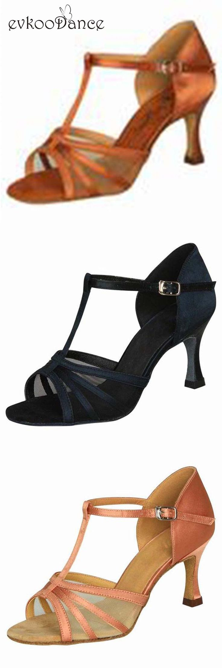 [Visit to Buy] Zapatos De Baile Heel Height 7cm Size US 4-12 Tan Black Brown Comfortable Women Salsa Shoes For Dance Shoes Latin NL062  #Advertisement