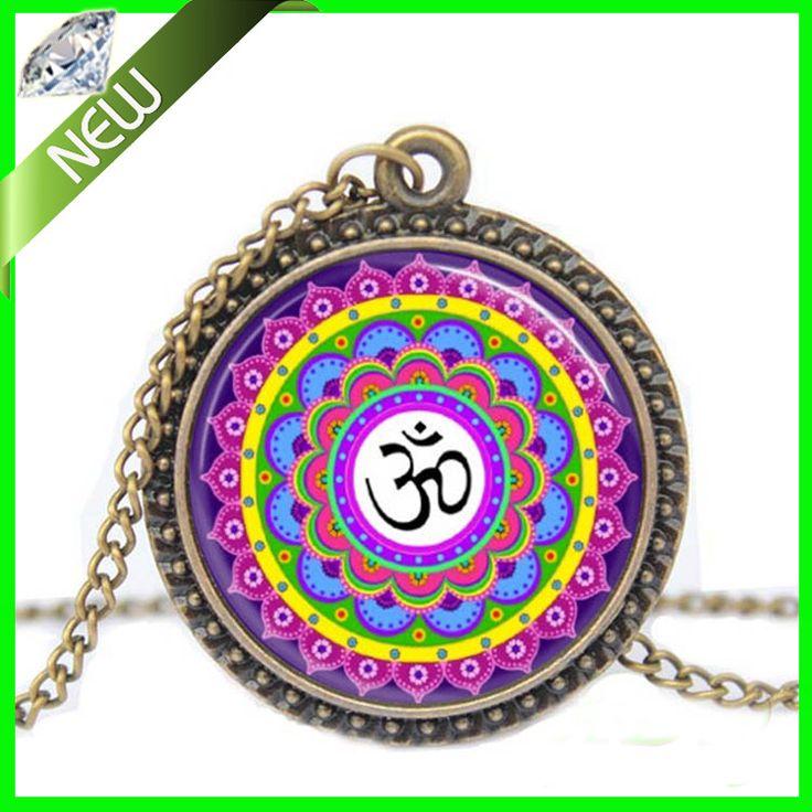 Многоцветный о . м . йога ювелирные изделия индия ожерелье о . м . символ будизм дзен медитация мандала искусство кулон стекло купол кулон ожерелье