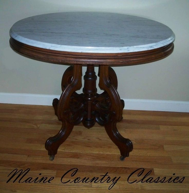 Antique Marble Side Table Reading: Antique VICTORIAN OVAL MARBLE TOP PARLOR TABLE Walnut