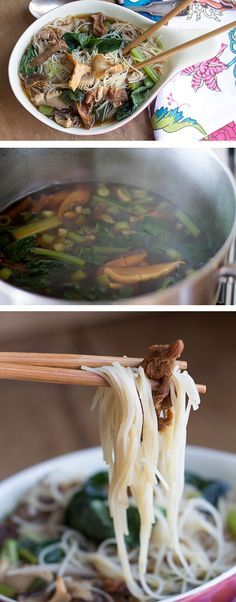 Chinese Mushroom Noodle Soup Recipe. Made with dried morel, porcini or Chinese mushrooms, chicken or vegetable stock, green onions, oyster sauce, light soy sauce, dark soy sauce, dried Chinese noodles, bok choy and choy sum. {Soups}