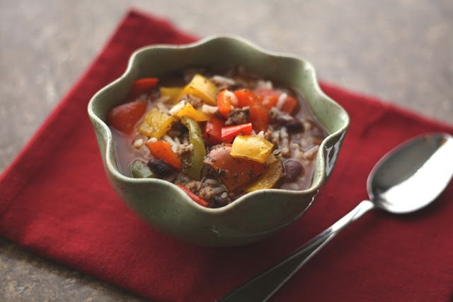 Barefeet In The Kitchen: Crockpot Stuffed Bell Pepper Soup