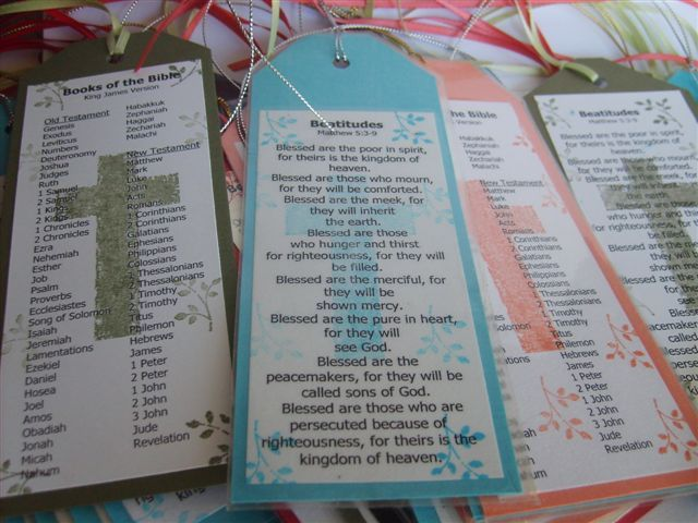 Books of the Bible and Beatitudes Bookmarks