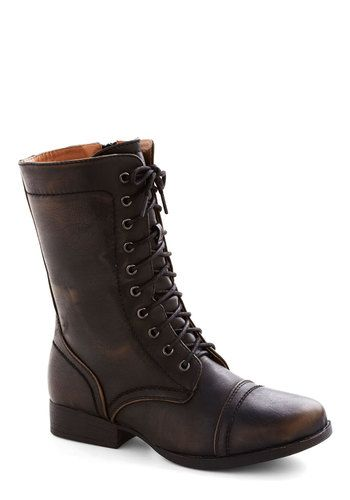 I have boots like this in black suede. Love this shape.   Bronze in a Lifetime Boot, #ModCloth
