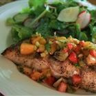 Spicy Strawberry Kiwi Peach Salsa, Wonderful healthy topper to fish, chicken,or pork!!