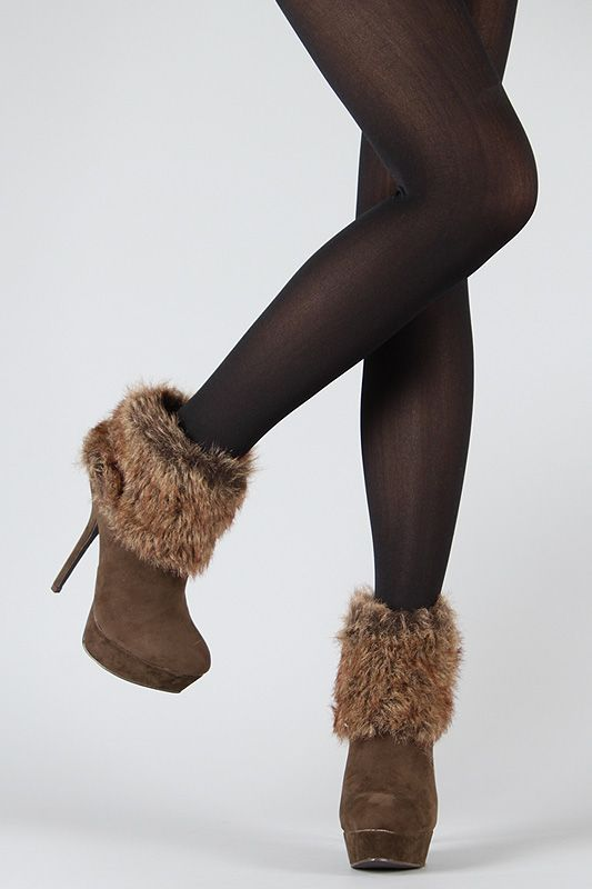 Breckelle Beverly-27 Fur Cuff Stiletto Bootie