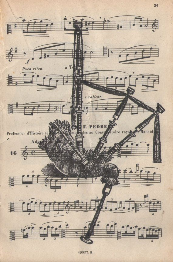 Highland Bagpipe antique sheet music book page by LiberoAntiques, $6.99