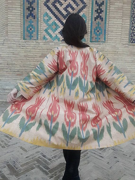 Uzbek Handwoven Ikat Adras Cotton chapan coat. by SuzaniUzbekistan