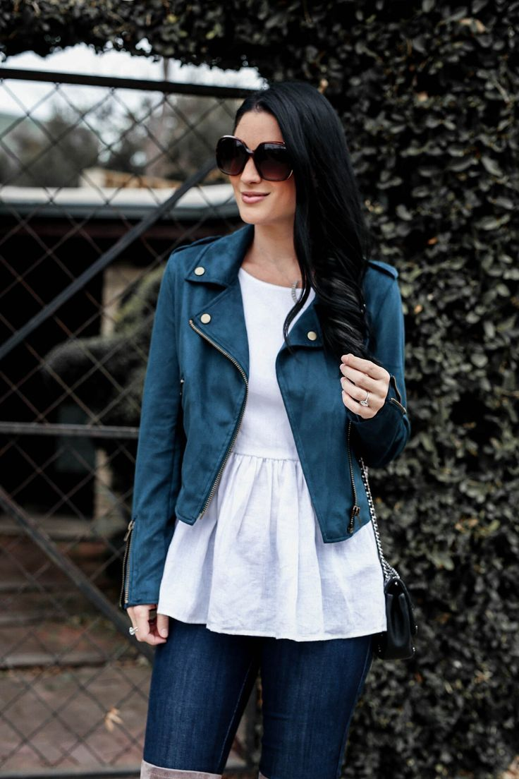 Teal Moto Jacket by popular Austin style blogger Dressed to Kill | Teal Moto Jacket | Must Have Transitional Moto Jackets | moto jacket outfit ideas | how to style a Moto jacket | Moto jackets for women || Dressed to Kill #motojacket #transitionalstyle #winteroutfits
