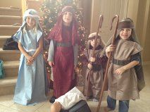 Make Nativity costumes from pillow cases. I use cal king sizes for taller children. Cut an opening along top fold wide enough (centered) for the head. Open the side seams. Use colorful strips of cloth for scarfs for belts. The veils can be just square cloths or open a pillow case into a square. I sent to an online costume site for shepherds' crooks made of plastic.