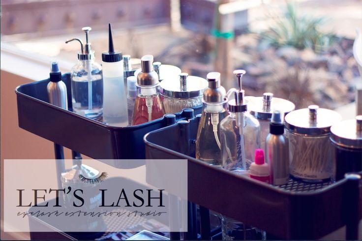 Stylist carts at Let's Lash an eyelash extension studio located in Scottsdale, Az. www.letslash.com