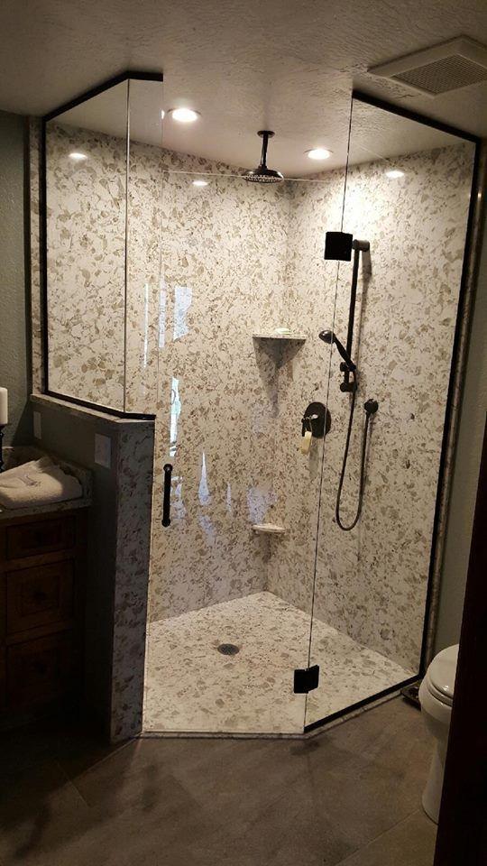 Pental quartz serra shower walls and pan pental for Bath remodel olympia wa