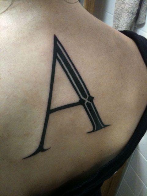Single letter lettering tattoo