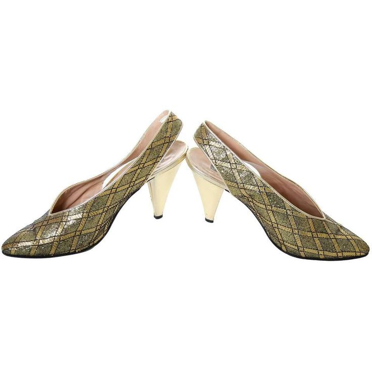 Maud Frizon Vintage Shoes Gold Metallic Black Sling Backs Heels Italy 38 7.5 2