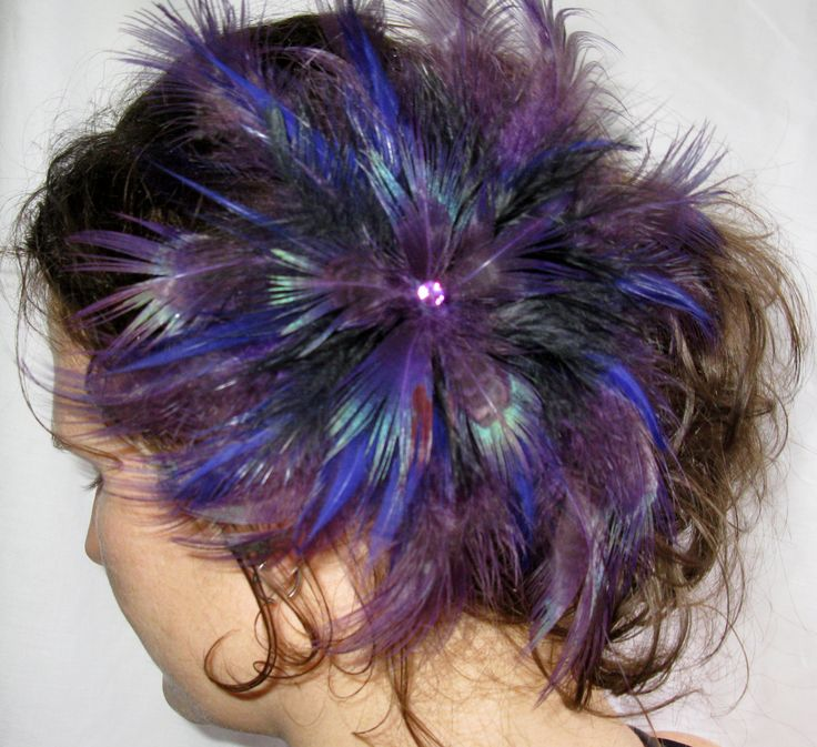 Irridescent Purples Feather Flower Fascinator, Hairpiece, Clip, Special, Accessories by PeachesPlumageWorks on Etsy