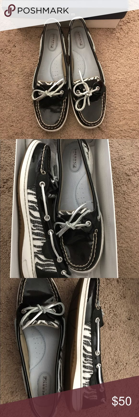 Sperry Angelfish Black/Zebra boat shoes. Size 9M Used, like new, Sperry Angelfish Black/Zebra boat shoes. Size 9M.  Barely worn. Still has original Sperry shoe box. Sperry Top-Sider Shoes Flats & Loafers