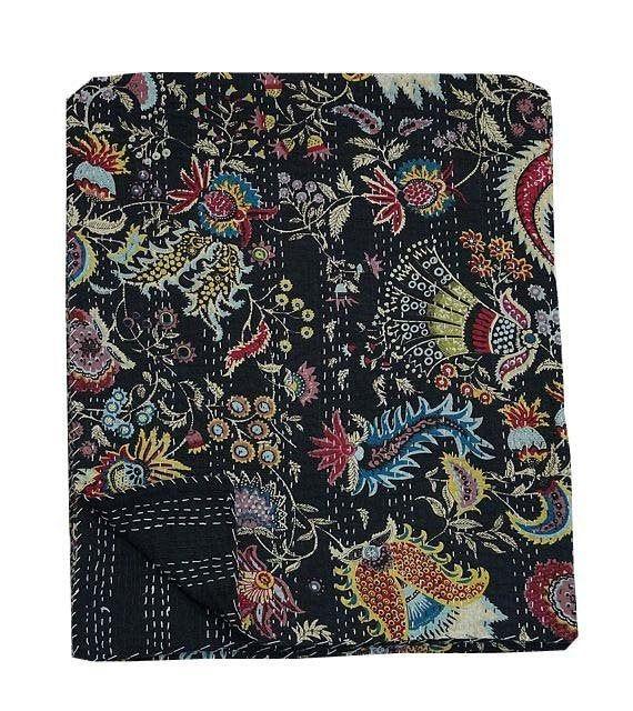 Kantha Quilt King Size Indian Handmade Bedspread Cotton Floral Bedding Coverlet