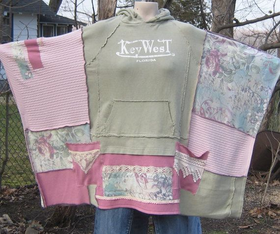 Reserved for Patti Upcycled Hoodie Poncho Key West by AnikaDesigns