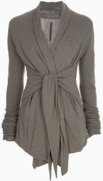 Long Sleeves Grey Wrap Up Cardigan