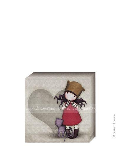 Gorjuss Canvas - Purrrrrfect Love (20x20cm) - Santoro London