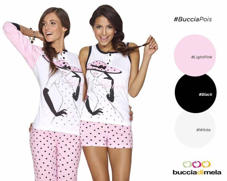 #BucciaPois Una texture tutta a pois per questi due pigiama #BucciadiMela, modello corto e lungo. Per un relax glamour e chic con #BucciadiMela! www.bucciadimela.it