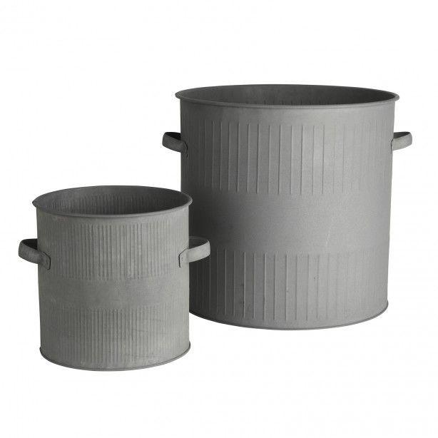 Zinken opbergbakken met handvatten - Set van 2