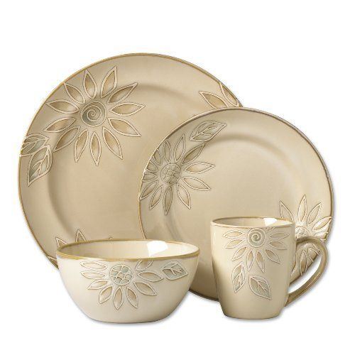 Pfaltzgraff Everyday Daisy Chain 16-Piece Dinnerware Set Service for 4 by Pfaltzgraff. $59.99. Stoneware dinnerware. Clay - Stoneware. 4 Pfaltzgraff Everyday Daisy Chain Place Settings. Each Place Setting Consists of: 1 Dinner Plate, 1 Salad Plate, 1 Soup/Cereal Bowl, and 1 mug. Textured pieces stylized with sunflowers. Microwave and Dishwasher Safe. Neutrally colored yet boldly rendered, stylized sunflowers splash across the face of our Pfaltzgraff Daisy Chain din...