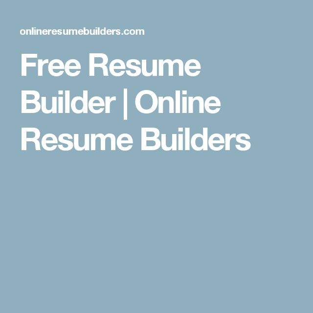 free resume builder online resume builders
