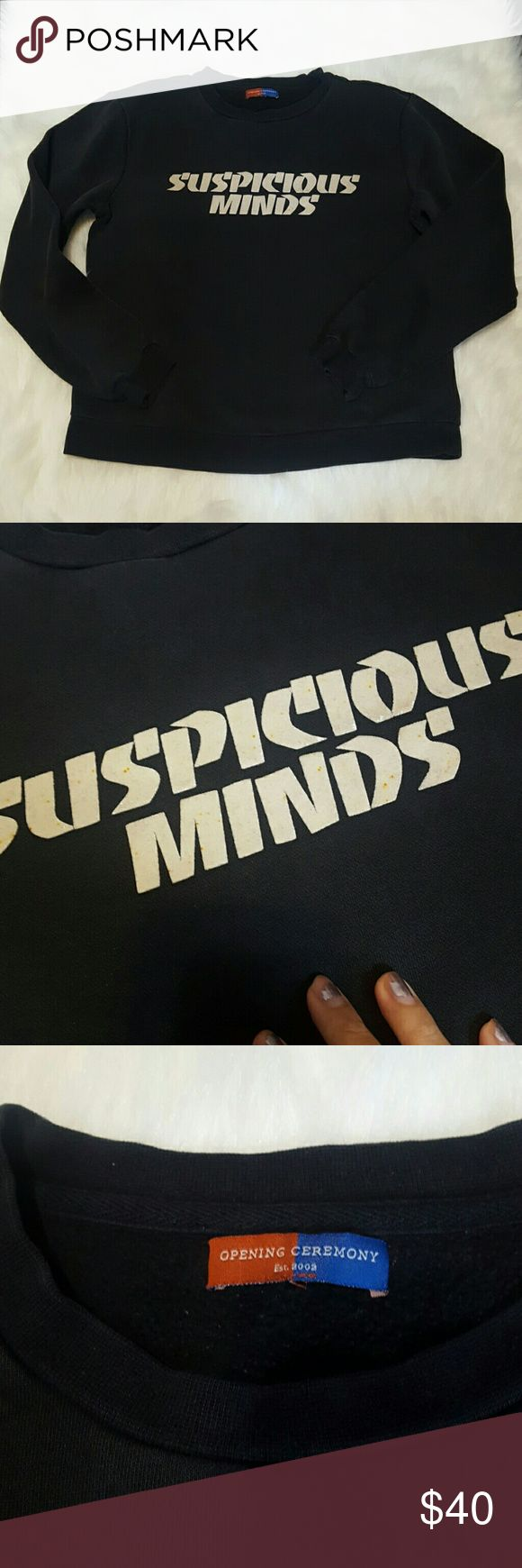 Suspicious Minds sweater Opening Ceremony sweater. Faded and stainded on the lettering. Suppossed to be white letterd but they are gray with spots. Still cool if you want to rock that grunge chic look. Opening Ceremony Sweaters Crew & Scoop Necks