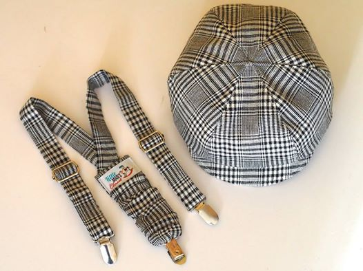 Boys vintage black and white plaid newsboy and suspenders set, handmade in Australia by Little Man's Closet