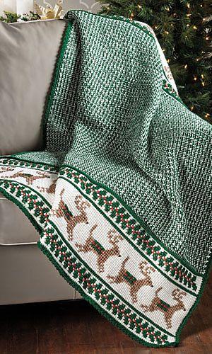 Reindeer afghan, pattern from Crochet World Magazine, December 2013