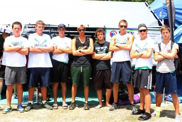 ROWING: Jacob Franks, 14, Chris King, 17, Sean Mihm, 15, Joseph Pantera, 18, Calvin Bilder, 16, Conor Davenport, 18, JR Kennelly, 16, and Thomas Kelly, 16, pose together outside the Sarasota Scullers tent.