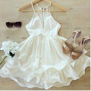 Sling White V Collar Sexy DressHM
