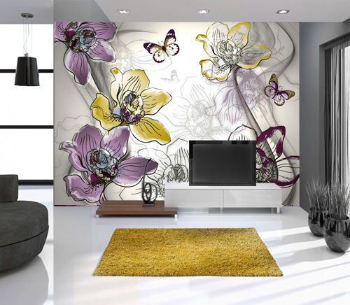 Wallpaper Wall Mural 350cm W X 250cm H Abstract Flower Yellow Purple