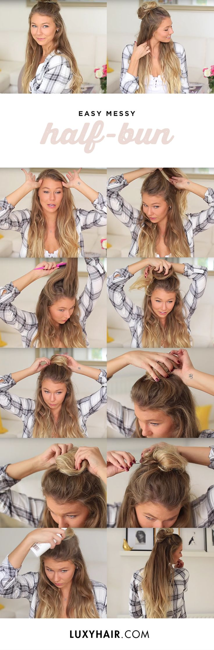 "Have you tried our messy half-bun? In this fun tutorial by @alexcentomo, we show you how to achieve a very easy hairstyle that is perfect for those lazy summer days ♥Alex is wearing her 24"" Ash Blonde #LuxyHairExtensions to add more volume and length to her hair. Her set has been custom colored to match her ombre hair perfectly."