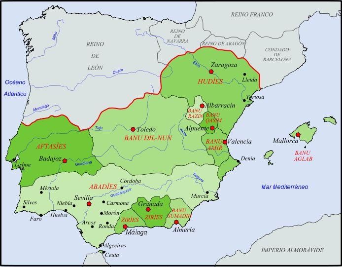 Reinos de Taifas en 1080 d C - - mapa de wikipedia