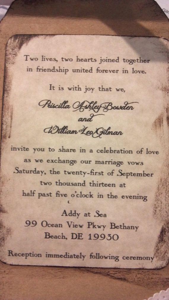 Rustic Wedding Invitation Country Chic Invitations by ShabbyScrap