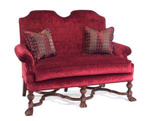 Глубина сидения дивана 55 см., высота сидения 57 см.             Метки: Маленькие диваны.              Материал: Ткань, Дерево.              Бренд: John Richard.              Стили: Классика и неоклассика.              Цвета: Бордовый, Красный.