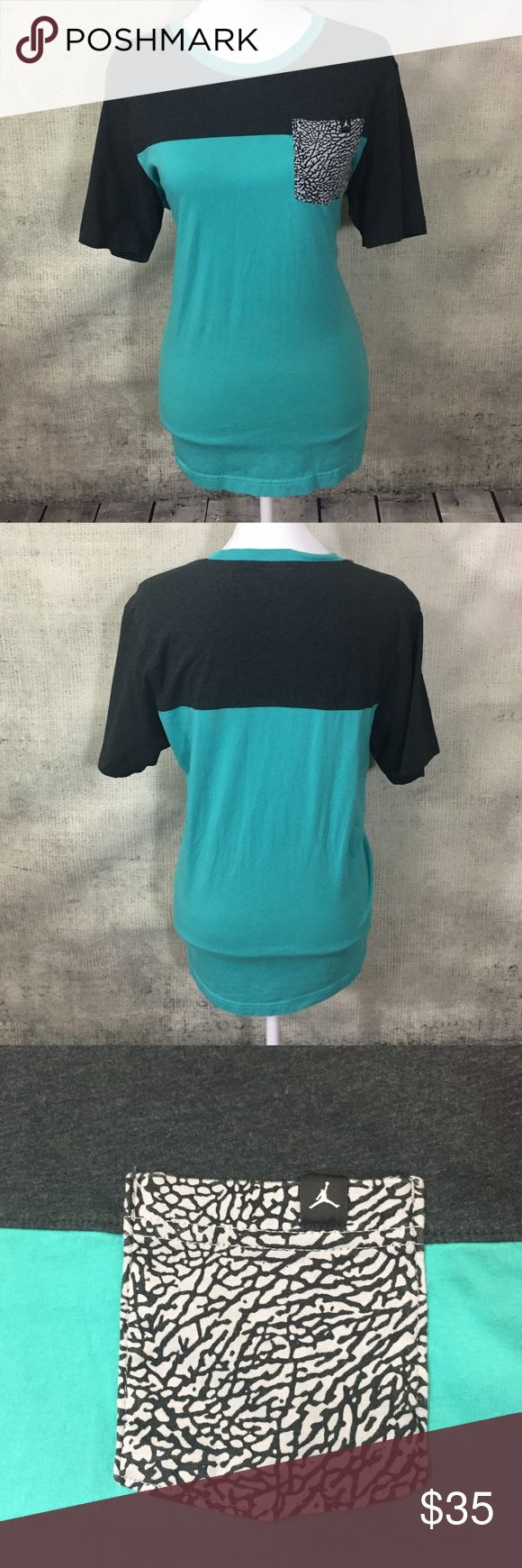 """Nike Jordan Elephant Print Teal Grey Tee Shirt Measurements - In inches, taken flat and are approximate (double where appropriate):  20"""" chest, 26 length Size L. Jordan Shirts Tees - Short Sleeve"""