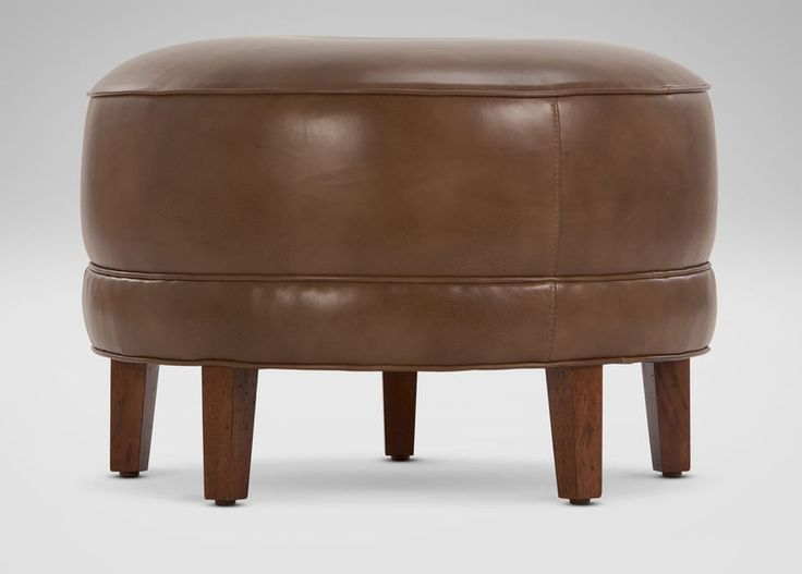 Nassau Round Leather Ottomans