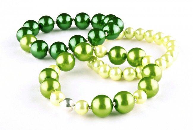Bransoletki – zielone perły szklane - set of 3 green glass pearls bracelets