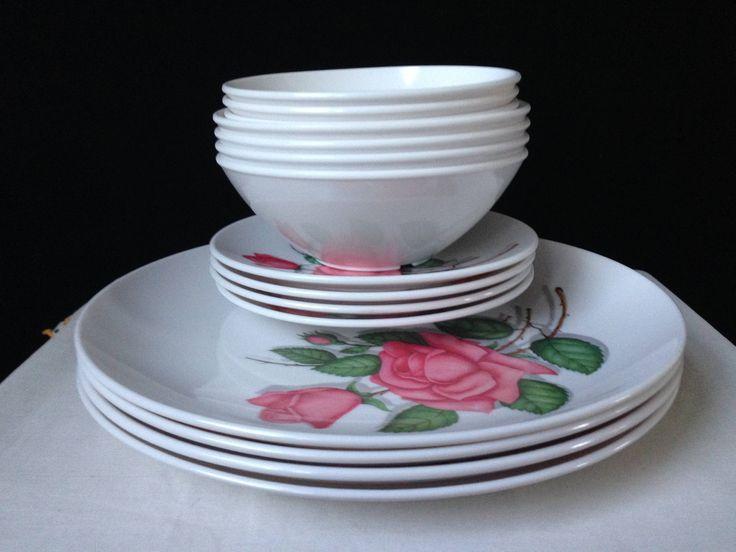 melmac royalon inc dishes rose pattern white with. Black Bedroom Furniture Sets. Home Design Ideas