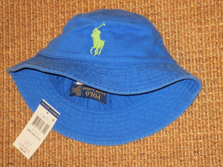 POLO RALPH  LAUREN  BUCKET HAT BIG PONY CHILD  2 - 4  YEARS  BLUE  COTTON  NEW  #PoloRalphLauren #Bucket