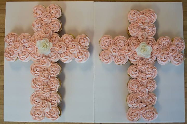 Christening cupcakes, girls christening cupcakes, girls baptism cupcakes, girls communion cupcakes, rosette cupcakes, cross cupcake cake
