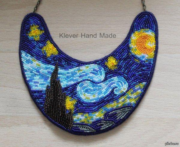 звездная ночь,ван гог,бисер,вышивка,украшения ручной работы,украшения,колье,Своими руками