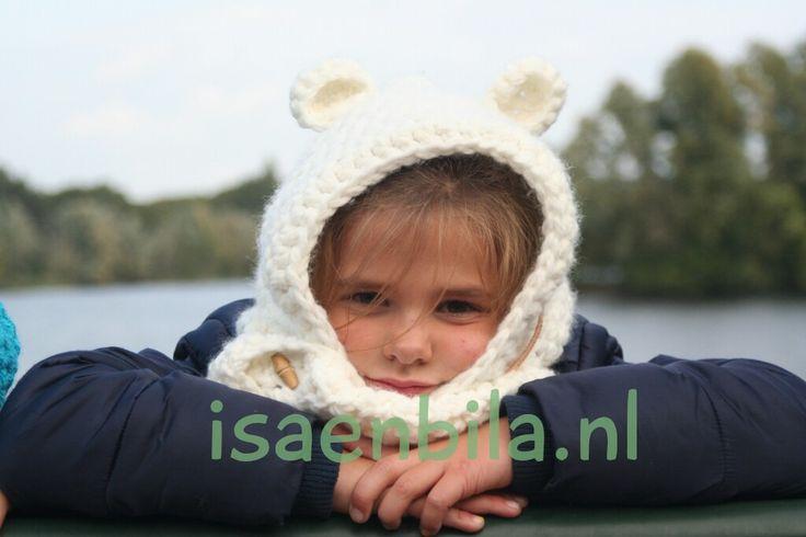 Bear-ear-hoody in white; de musthave voor deze winter!!! Now for sale: www.isaenbila.nl