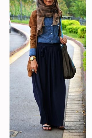casual outfits .. hijab .. long skirt